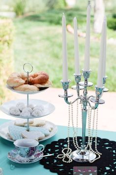 Breakfast at Tiffany's Bridal Shower Ideas Bridal Shower Breakfast At Tiffanys, Breakfast At Tiffanys Party Ideas, Brunch Party, Tiffany Birthday Party, Tiffany Party, Tiffany Baby Showers, Tiffany's Bridal, Christmas Tea, Bachelorette Party Games