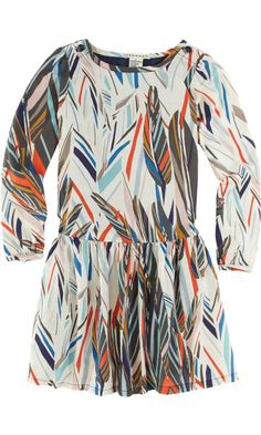 Anthem of the Ants Long Sleeve Feather Print Dress
