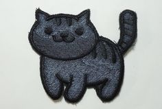 Willie standing - Neko Atsume Sew On Machine Embroidered Patch, Dark gray kitty with black stripes by JuliefooStitches on Etsy https://www.etsy.com/listing/270725256/willie-standing-neko-atsume-sew-on