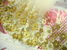 Lace trim Embroidered fabric Embroidered tulle by raincrazy133, $6.25