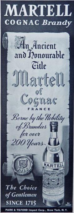 Martell Cognac  Vintage Print Ad  30 s B W Illustration  ancient title   Esquire Magazine Art