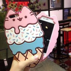 Ice Cream Cat iPhone Case ~ Durable Shockproof Soft Rubbery ~ Most Kawaii Phone Case Ever! So Kawaii Babe! 100% FREE Shipping Worldwide. No Taxes. No Shipping Fees. NADA! Tons more Kawaii, Lolita, Harajuku, Fairy-Kei, Larme, Pastel-Goth, Cosplay, Magical Girl, and Japan Fashion Goodies at www.KawaiiBabe.com