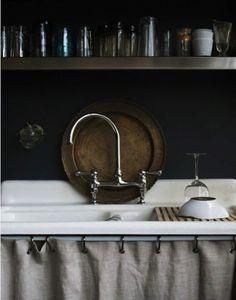 Dark Decor | Vintage Home | Furniture | Ideas....love the sink!  My next big want/find idea!