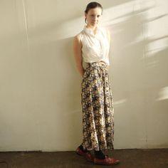 semi sheer Black Floral maxi skirt