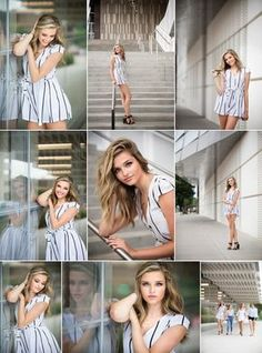 Senior Feature - Iowa City Senior Girl. Classic modern romper outfit with black heels.