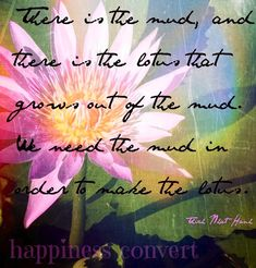 Lotus flower quote via www.Facebook.com/HappinessConvert
