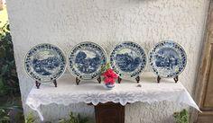 Delft Four Seasons Garniture Plates 4 Delfts Blauw Schotel Wall Plaque Set Schaal Dish Koninklijke Royal Goedewaagen Gouda Holland *Free S&H