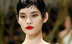 Red bedazzled lips & bold brows - Christian Dior haute couture Spring 2013