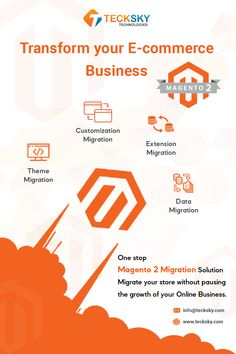 One-stop #Magento2Migration Solution Migrate your store without pausing the growth of your online business! Being a team of trained and expert #Magentodevelopers, Tecksky will help you to migrate your Magento store easily and hassle-free. The service offered by Tecksky is Theme Migration, Extension Migration, Customization migration, data migration. Now is the time to Transform your business with us:- Data Migration, Ecommerce Store, App Development, Mobile App, A Team, Online Business, Free, Mobile Applications