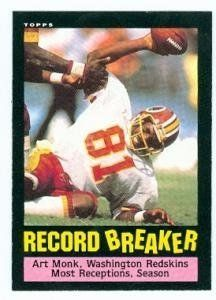Art Monk football card (Washington Redskins) 1985 Topps #5 Record Breaker by Hall of Fame Memorabilia. $31.95. Art Monk football card (Washington Redskins) 1985 Topps #5 Record Breaker. Signed items come fully certified with Certificate of Authenticity and tamper-evident hologram.