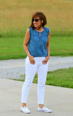 I couldn't style summer fashion without styling a chambray shirt. Are we right or what? This look is cool for the summer!