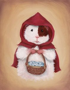 Cute Guinea Pig Art Print  Little Red Riding by WhenGuineaPigsFly