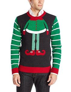 61539a34a2a Ugly Christmas Sweater The Kit Men s Elf Head - Chenille