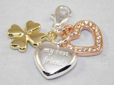 Charm - Sterling Silver 18k Tri-Gold plated 4-leaf clover/My Best Friend heart/open heart with crystals