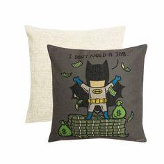 Part Time Batman Cushion Cover, Grey