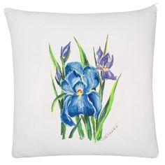 Poduszka z akwarelą Irysy White pillow, watercolor irises flowers