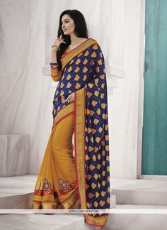 Fashion and trend will be at the peak of your beauty once you dresses this mustard jacquard designer saree. The ethnic embroidered and patch border work for the clothing adds a sign of beauty statemen...