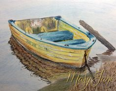 'Boat' a Colored Pencil Drawing by MaryJane Sky of www.maryjanefineart.com