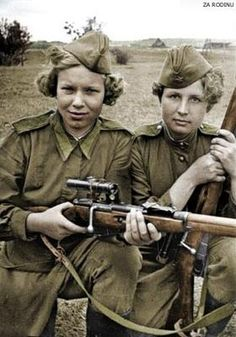 During WWII, Hitler forbid women (with some limited exceptions) from serving in the military and relegated them to strictly domestic roles. Contrast with the Soviet Red Army which had over 2,000 women snipers, including: Ludmila Pavlichenko, Klavdiya Kalugina, Nina Lobkovskaya, Moldagulova, Alija, Catherine Golovakha and Nina Kovalenko.
