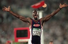 Michael Johnson  First man to win Gold in 200 and 400 meters  1996 Atlanta Olympics   5 Gold medal and 9 world Championships
