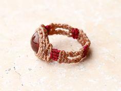 スファレライト 天然石リング Macrame Rings, Macrame Jewelry, Macrame Bracelets, Diy Jewelry, Micro Macrame, Paracord, Knots, Diy And Crafts, Activities