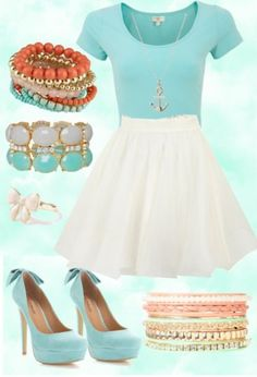 Cute summer outfit! Skirt needs to be passed the knee to make it modest, but what a cute look!