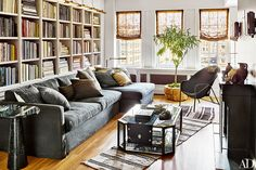 gray sofa, bookcases with library lights