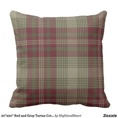 "20""x20"" Red and Gray Tartan Cotton Throw Pillow"