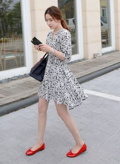 [MIAMASVIN] FLORAL SURPLICE NECK BELTED DRESS