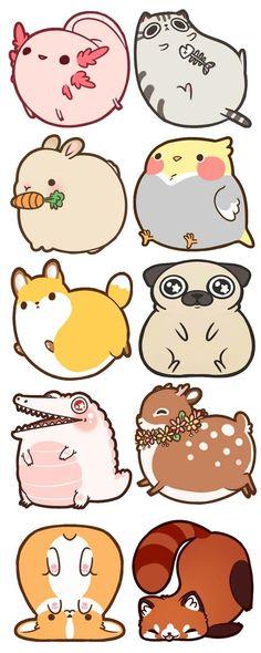 by Rebecca and Damien Bakels-Murphy — Kickstarter - Fat Animal Acrylic Charms~! by Rebecca and Damien Bakels-Murphy — Kickstarter Fat Animal Acrylic - Cute Animal Drawings Kawaii, Kawaii Art, Cartoon Drawings, Easy Drawings, Cartoon Illustrations, Funny Drawings, Cute Drawings Of Animals, Cartoon Bird Drawing, Cute Kawaii Animals