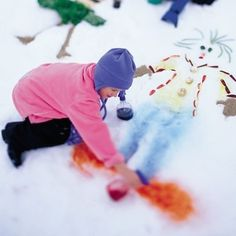 Snowy day activity: Fill bottles with food coloring and water; go outside and paint! #kids