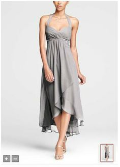 F15417 - Crinkle Chiffon Low High Halter Dress in Mercury Grey - David's Bridal