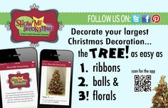 Christmas Tree Decorating is easy with the Show Me Decorating App! Takes all the pondering out of decorating. #ChristmasTree, #ChristmasDIY, #ChristmasTreeApp