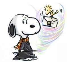 Snoopy as Harry Potter and Woodstock as Hedwig