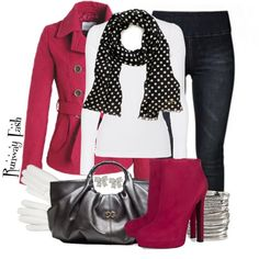 I love red, white, and black together.  Winter Sweetness, created by lunagitana on Polyvore