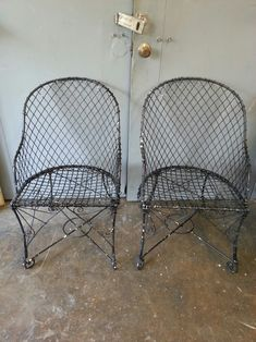 Pair Victorian French Wire Garden Chairs With Half Moon Seats Tall x Wide. Garden Sitting Areas, Garden Chairs, French Antiques, Dallas, Love Seat, Wire, Victorian, Moon, Country