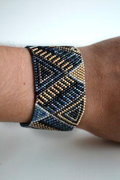 Bracelet manchette peyote en perle miyuki