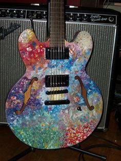 Psychedelic Hand Painted Epiphone Gibson Dot ES 335 Electric Guitar Vintage Des | eBay