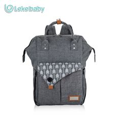 Lekebaby Fashion Mummy Maternity Bag Multi-function Diaper Bag Backpack Arrow Print Nappy Bag with Stroller Straps for Baby Care