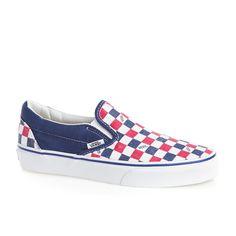 Shop online for Women's Vans Classic Slip-On Shoes - Van Doren True Blue/Checker