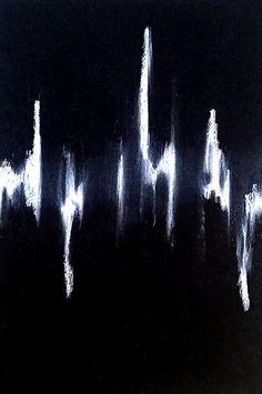 Erin Hegg - Untitled (wave), 2013 white pencil on black paper Black And White Abstract, Black Art, Black Paper, Glitch Art, Textiles, Heart Art, Funny Art, Artist Art, Figurative Art