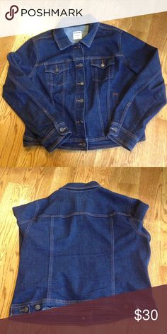 NWOT Dark wash denim jacket! This is brand new, never been worn only tried on. It has no holes or stains. It comes from a smoke free but pet friendly environment. I ship Monday-Friday. I don't hold or trade. I don't negotiate the price in the comments. I only sell through poshmark. Old Navy Jackets & Coats Jean Jackets
