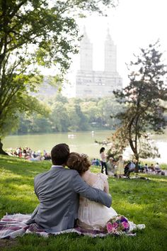 Central Park, NYC ~ Summer Love. San Remo Apartments in the distance.