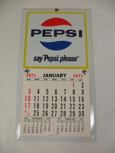 Great condition vintage pepsi calender from 1971. Made of metal on cardboard. Only the most miner signs of wear this piece i would grade it a 9 out of 10. Measures 12 by 6 3/8. Thanks for looking :)