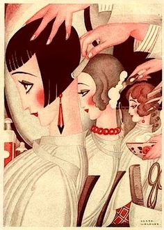 Vintage Hairstyles painting by Gerda Wegener a Danish illustrator and painter. She moved to Paris in where she worked as a painter and as illustrator for Vogue, La Vie Parisienne, Fantasio, and many other magazines.She is famous for her erotica. Art Deco Posters, Vintage Posters, Vintage Art, Art Deco Illustration, Art Nouveau Pintura, Hj History, Moda Art Deco, Art Deco Stil, Art Deco Art