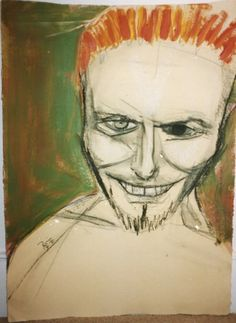 Self-portrait 7 by David Bowie. Charcoal, Pastel, Acrylic and Wash. About 77cm x 57cm