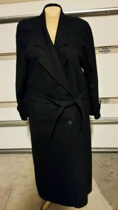 Womens Long Knee Length Double Breasted Dark Blue Coat Size 10 #CasualCorner #DoubleBreasted