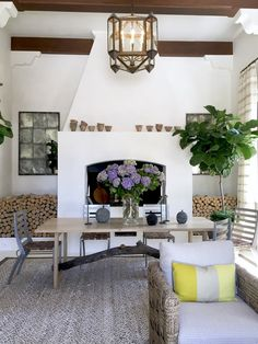 San Francisco showhouse: love the dining table in front of fireplace, instead of the usual sofa arrangement