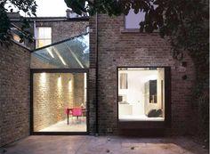 mapledene road: large pivot door, glass roof and oriel bay window