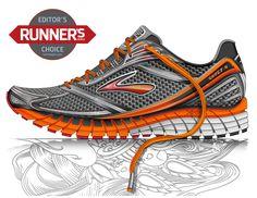Brooks Running Shoe Co Sneakers Sketch, Shoe Sketches, Brooks Running Shoes, Designer Shoes, Footwear, Nike, Printed Shoes, Sketching, 3d